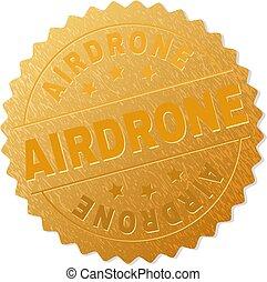 切手, airdrone, バッジ, 金
