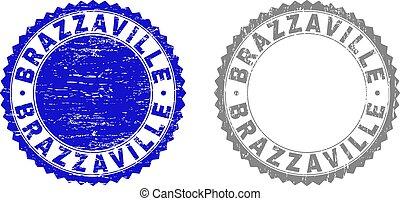 切手, brazzaville, textured, グランジ, シール