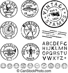 切手, clipart, ラベル, セット, ベクトル, 型