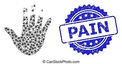 切手, recursion, アイコン, 痛み, destructed, 苦脳, 構成, 手