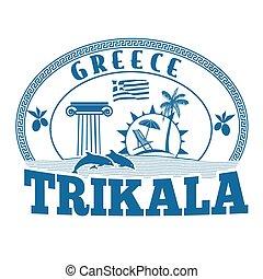 切手, trikala, ギリシャ, ∥あるいは∥, ラベル