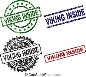 切手, viking, 中, シール, textured, 傷つけられる