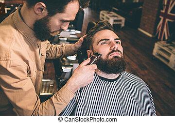 切断, いくつか, hairstylist, accurate., ひげ, razer., customer's, 非常に, 電気である, すてきである, 彼, よい
