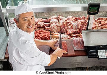 切断, ディスプレイ, 肉, 肉屋, キャビネット
