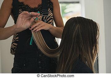 切断, 大広間, womans, 長い間, ぬれた 毛