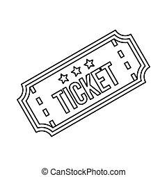 切符, アイコン, スタイル, アウトライン