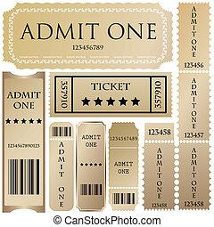 切符, スタイル, 別, ベクトル, set: