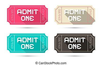 切符, セット, -, 隔離された, イラスト, 1(人・つ), 入院させなさい, ベクトル, レトロ, 背景, 白