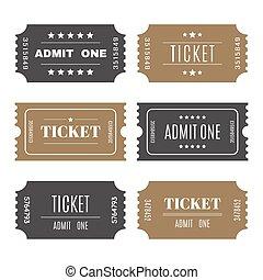 切符, テンプレート, セット, ベクトル, numbers., ペーパー, 記入項目