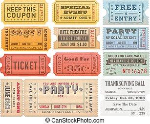 切符, テンプレート, ベクトル, グランジ, カラフルである