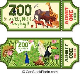 切符, トロピカル, 背景, カラフルである, 動物園