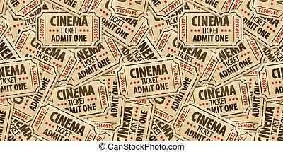 切符, パターン, seamless, 背景, 映画館