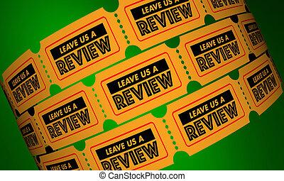 切符, フィードバック, レビュー, イラスト, 休暇, 私達, 3d, comments