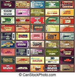 切符, 別, illustration., 型, coupons., コレクション, ベクトル, styles.