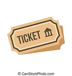 切符, 博物館, スタイル, アイコン, 平ら