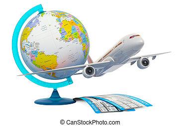 切符, 地球, 旅行, 世界的である, 空気, レンダリング, 地理的, 飛行機, concept., 3d