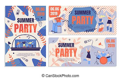 切符, 旗, 順序, フライヤ, 招待, 夏, パーティー