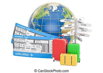 切符, 概念, 旅行, スーツケース, レンダリング, signposts., 地球の 地球, 3d