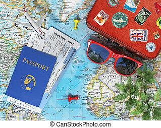 切符, 青, レクリエーション, 古い, やし, sky., 飛行機, concept., サングラス, 旅行, 地図,...