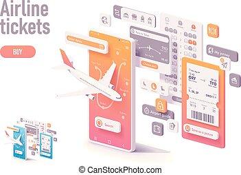 切符, app, ベクトル, 航空会社, テンプレート, 予約