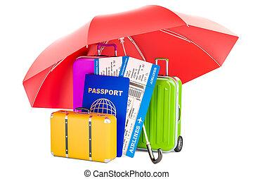 切符, umbrella., スーツケース, 概念, 旅行, レンダリング, パスポート, 下に, 保険, 3d