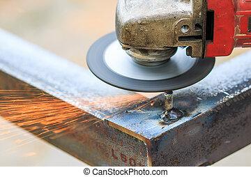 切, 金屬, 碾, 電火花, 鐵工人, grinder., 當時