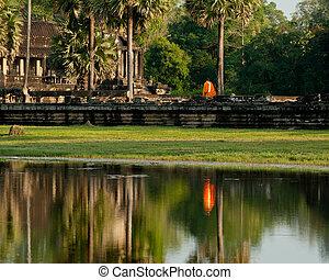 刈り入れしなさい, 旅行, buddhist 修道士, カンボジア, thom, temple., siem, 複合センター, ワット, angkor, 目的地