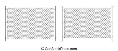 刑務所, ワイヤー, 背景, 金属, 現実的, chainlink, ベクトル, 鋼鉄, 3d, セキュリティー, 隔離された, fence., white., 格子, フェンス