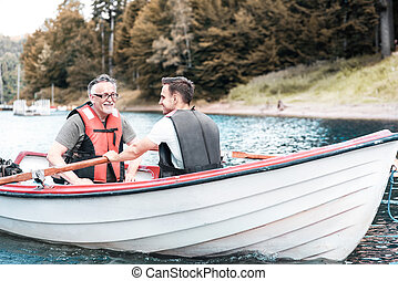 划船, 人, 二, 湖, 平靜, 小船