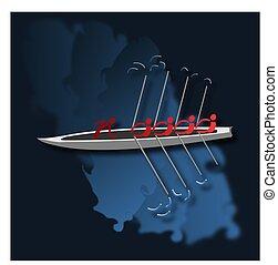 划船, 描述, helmsman., 船, 四, 矢量, oarsmen