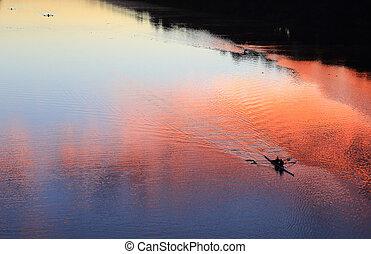 划船, 黑色半面畫像, 上, the, 河