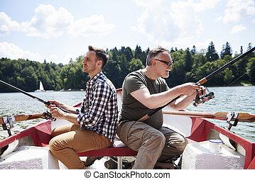 划艇, 人, 集中, 釣魚