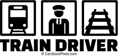 列車, 仕事, アイコン, 運転手, タイトル