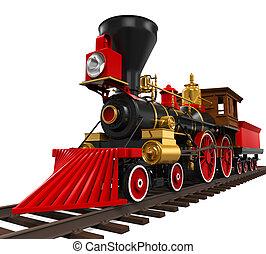 列車, 古い, 機関車