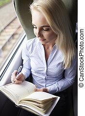 列車, 女, 若い, カレンダー, 旅行