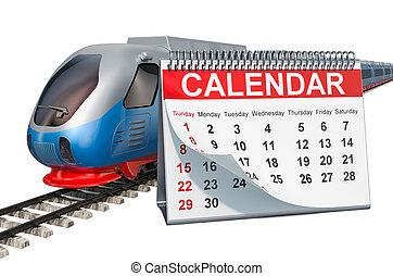 列車, 旅行, 柵, 高く, レンダリング, 卓上カレンダー, スピード, concept., 3d