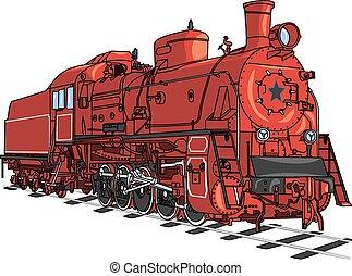 列車, 機関車, vector.