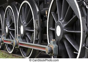 列車, 蒸気, wheels.