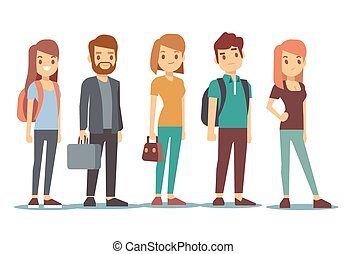 列, の, 若い, 人々。, 待つこと, 女性たちと男性たち, 地位, 中に, ライン。, ベクトル, イラスト