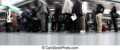 列, 待つこと, 線, 旅行者, 人々