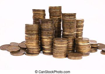 列, 隔离, 硬币, 背景。, 白色