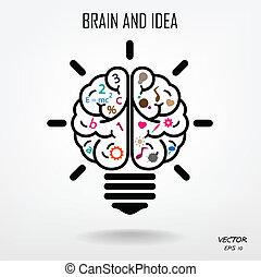创造性, 脑子, 符号, 签署, 符号, 同时,, 教育, 图标
