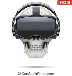 初始, stereoscopic, 3d, vr, 耳機, 以及, 頭骨