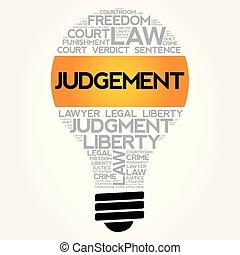 判断, 電球, コラージュ, 単語, 雲