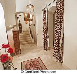 別荘, 階段, 木製である, bannister, ぜいたくな家, 大理石