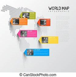 別針, 地圖, 世界, 樣板, 相片