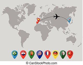 別針, 地圖, 旗, 世界, 國家