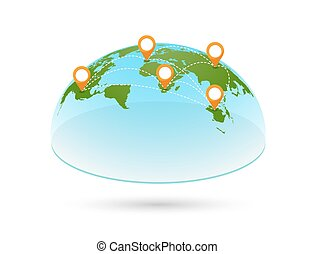 別針, 地圖, 矢量, 3d, 世界
