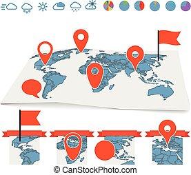 別針, 地圖, 集合, 圖表, 地球