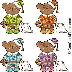 別, おもちゃ, 彼の, 柔らかい, 眠い, 熊, セット, colors., パジャマ, 枕, hands.